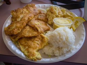 Fried Egg-battered Mahi Mahi