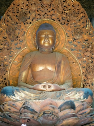 The Amida Buddha inside the temple.