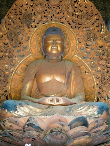 The Amida Buddha inside the temple.