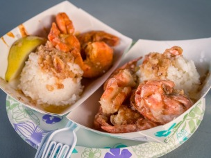Garlic and Spicy Shrimp with a side of garlic rice.